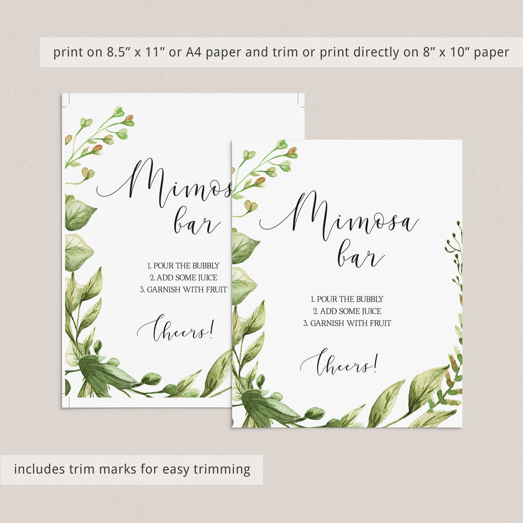 Instant download mimosa sign with greenery leaves by LittleSizzle