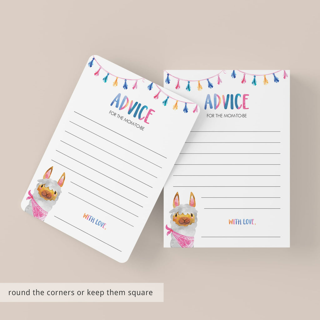 Baby shower advice cards llama theme by LittleSizzle