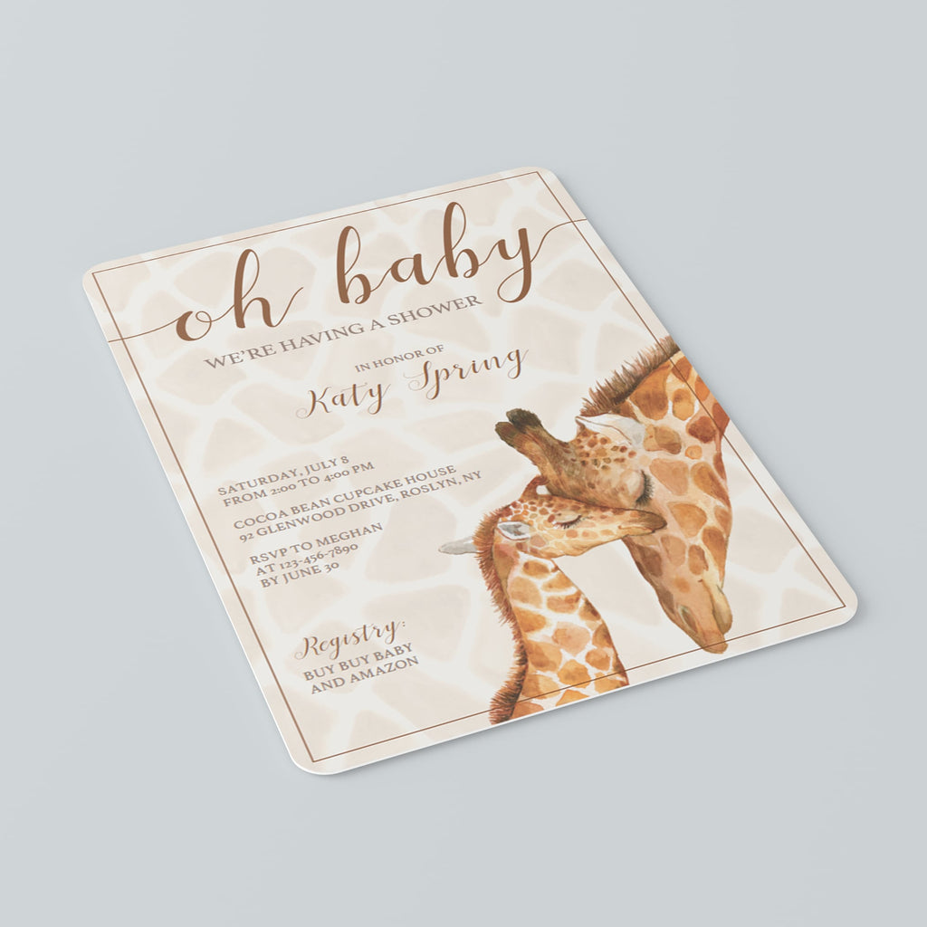 Invitation Templates for Giraffe Baby Shower Instant Download