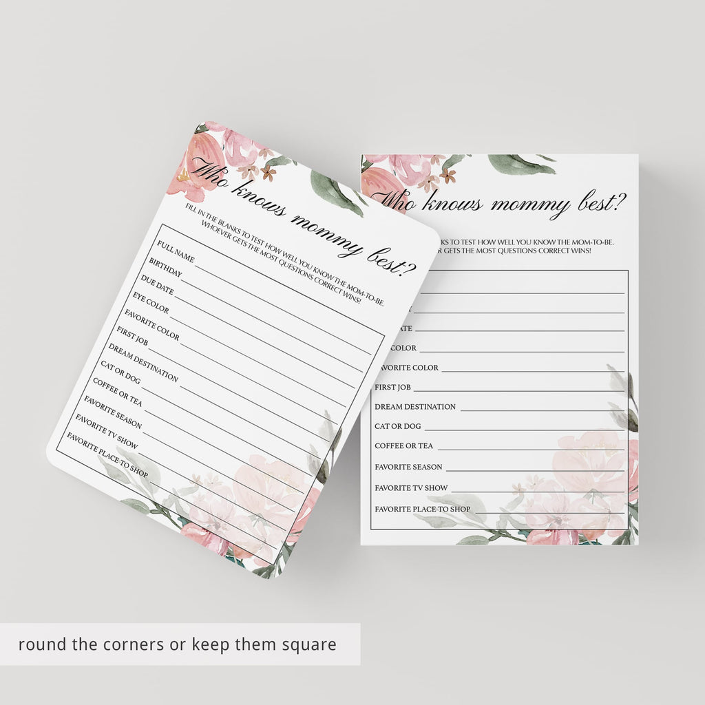 Floral Baby Shower Who Knows Mommy Best Printable
