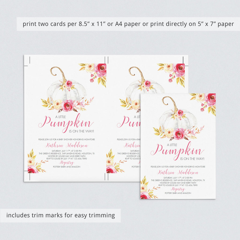 Pumpkin Baby Shower Invitation Bundle Instant Download