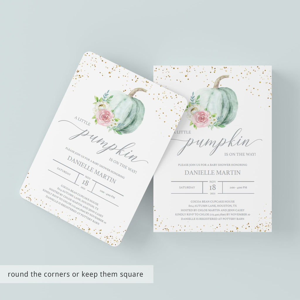 Pumpkin on the way baby shower invitation gender neutral by LittleSizzle