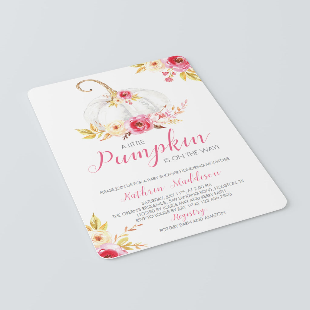 Girl baby shower invitation template fall themed by LittleSizzle