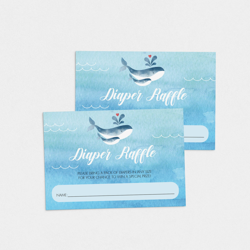 Printable Whale Baby Shower Diaper Raffle Cards