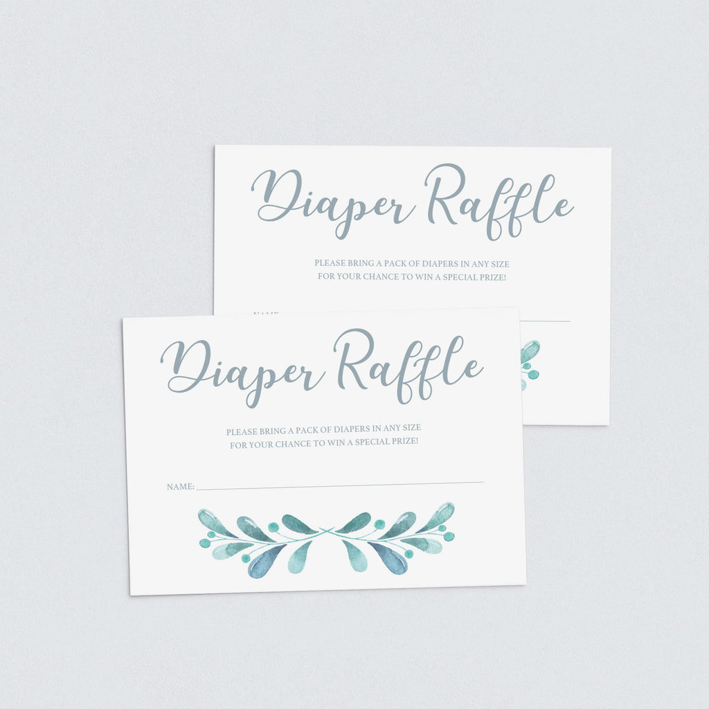Instant download watercolor baby diaper raffle game cards by LittleSizzle