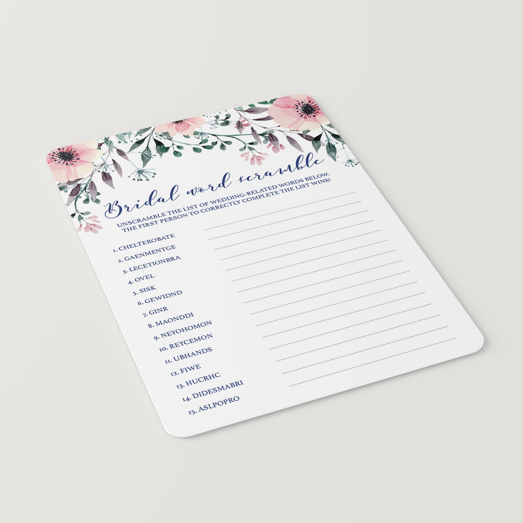 Pink Flowers Bridal Shower Games Pack Instant Download