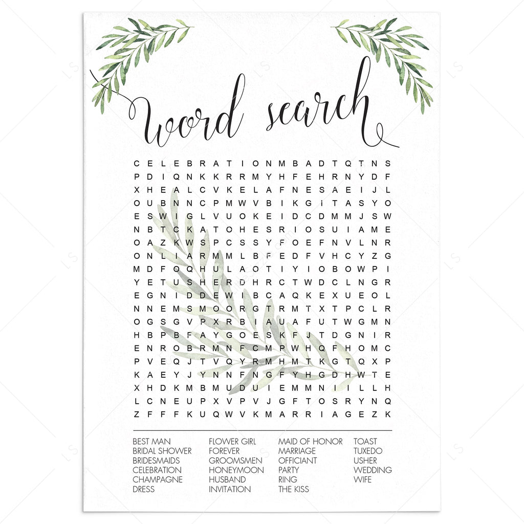 Wedding Word Search Game Printable Greenery Theme by LittleSizzle