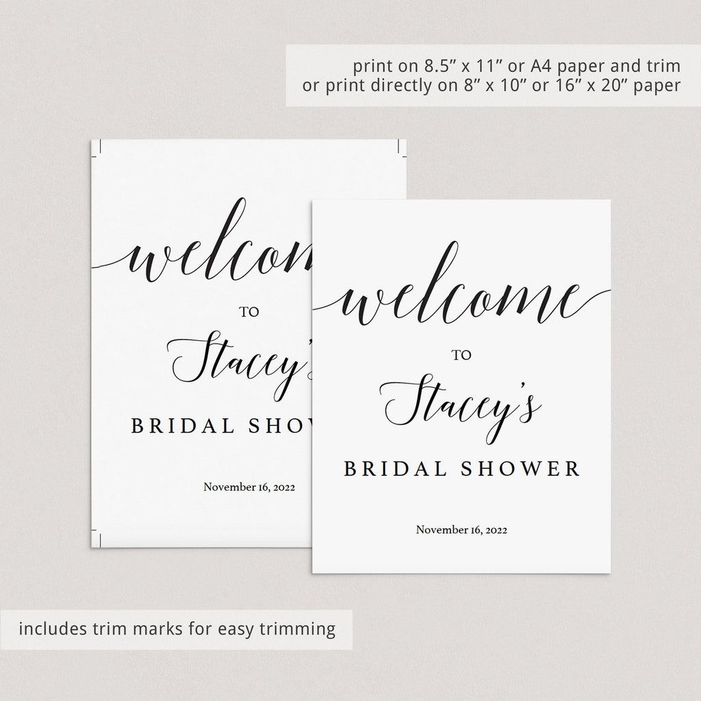 Elegant bridal shower welcome sign template by LittleSizzle