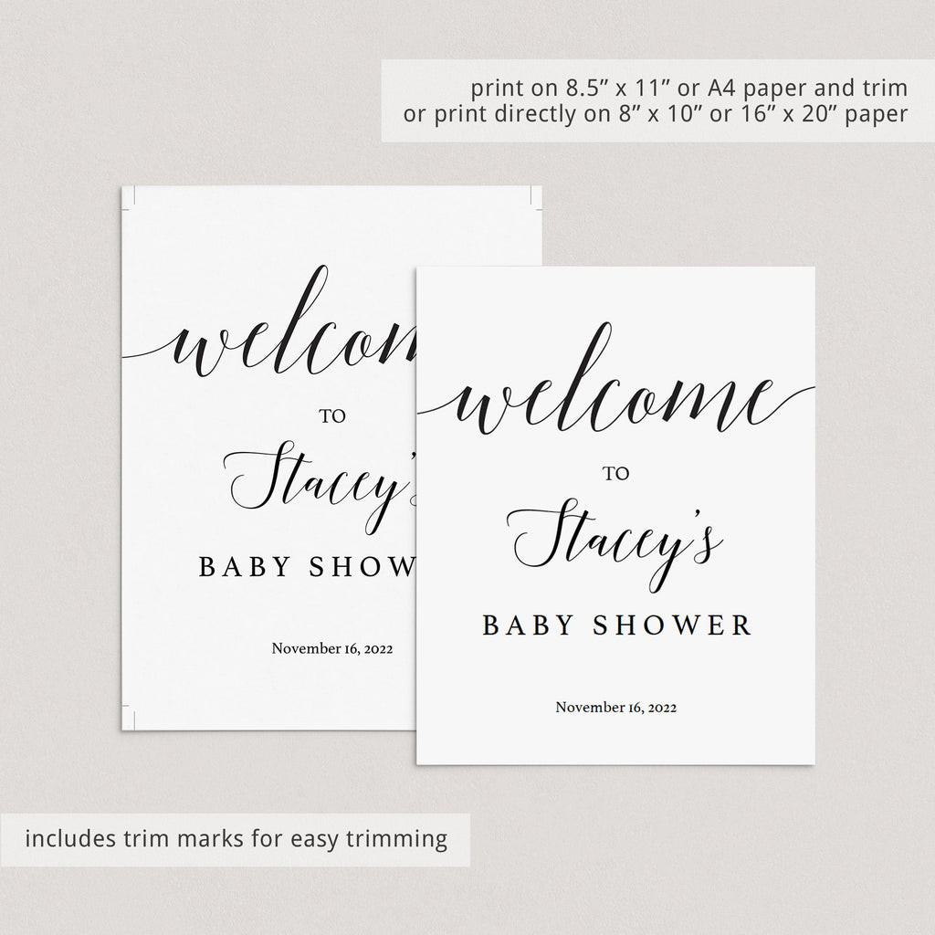 White baby shower welcome board by LittleSizzle