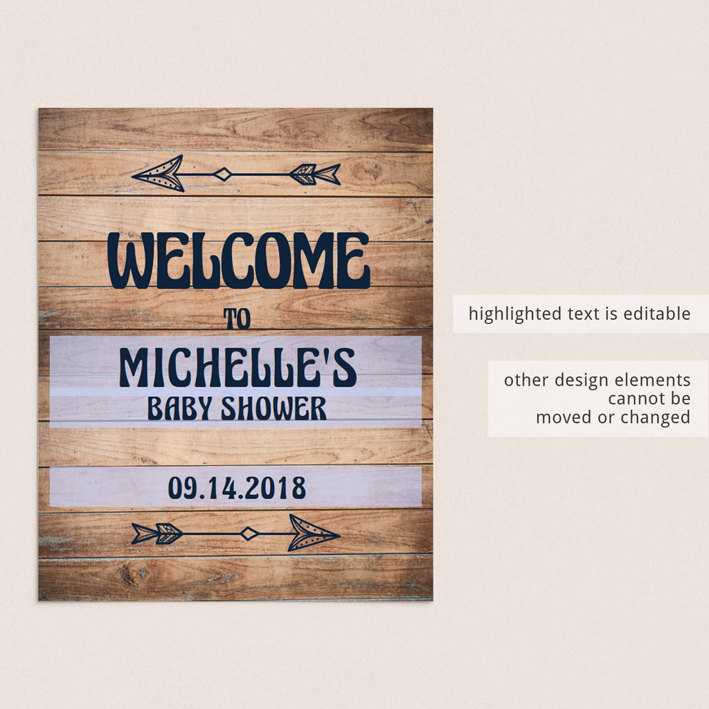Editable welcome sign for rustic themed baby shower by LittleSizzle
