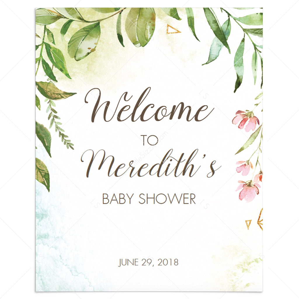 Garden themed shower welcome sign template by LittleSizzle