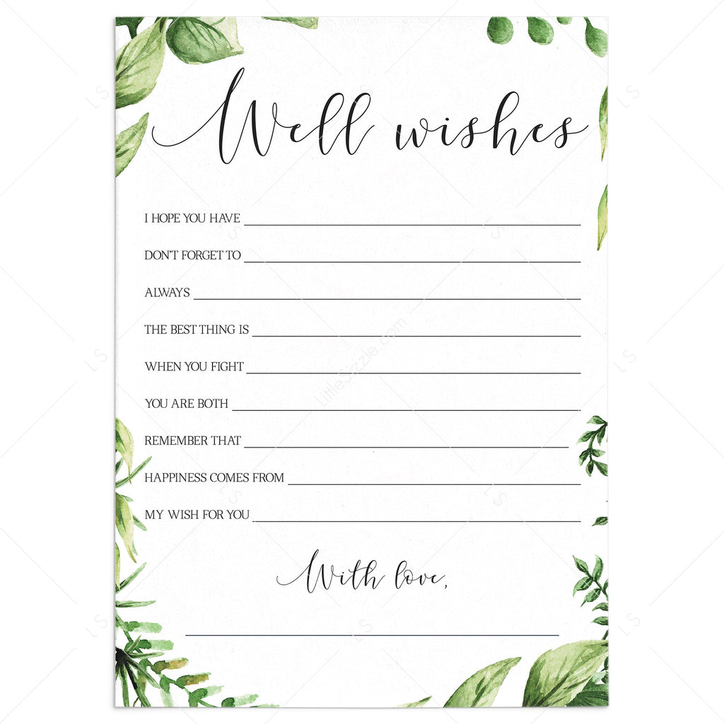 Greenery Well Wishes for the Bride and Groom Card Printable by LittleSizzle
