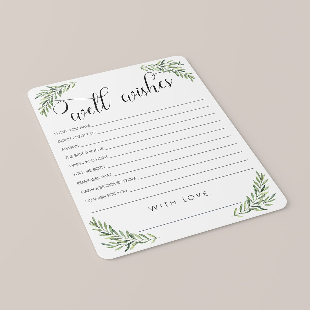 Wedding Well Wishes Card with Olive Branches