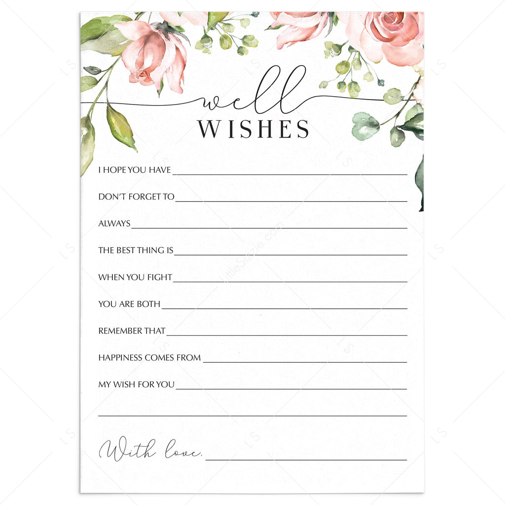 Printable Well Wishes Cards with Blush Roses by LittleSizzle