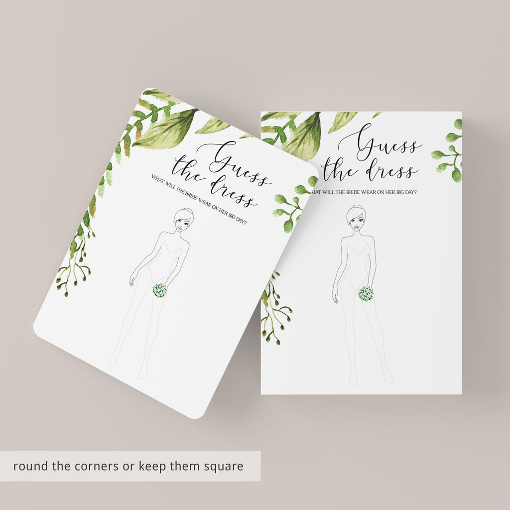 botanical wedding shower games printable guess the dress