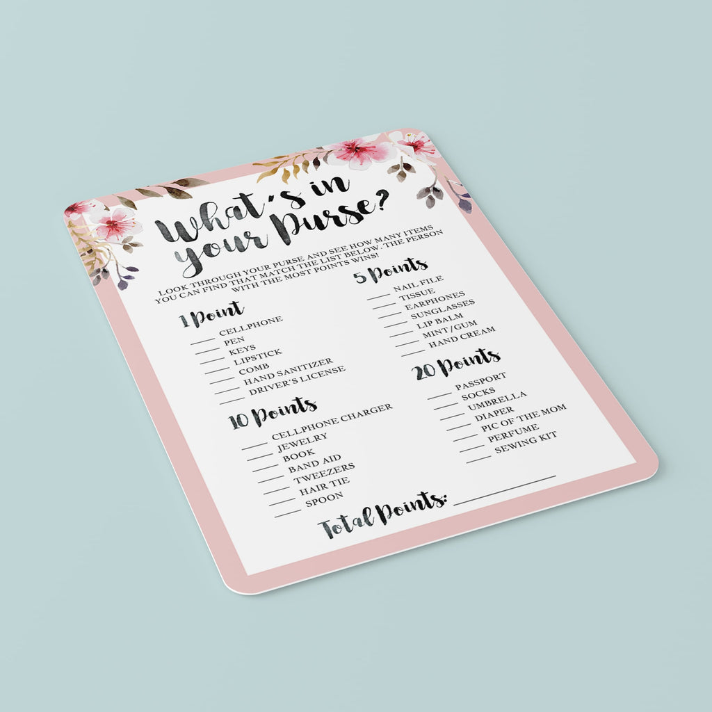 What's in your purse baby shower game pink florals by LittleSizzle