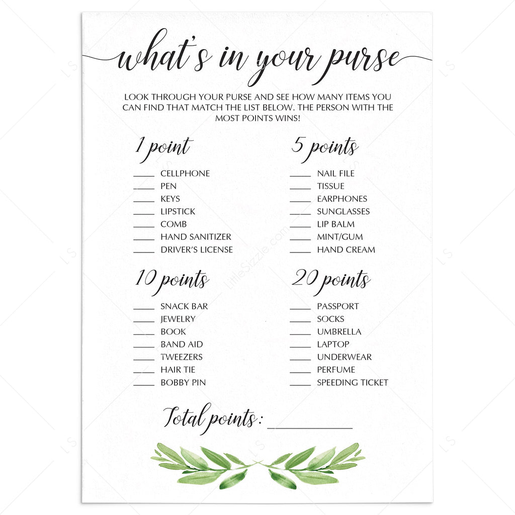 whats in your purse bridal shower game digital file by LittleSizzle