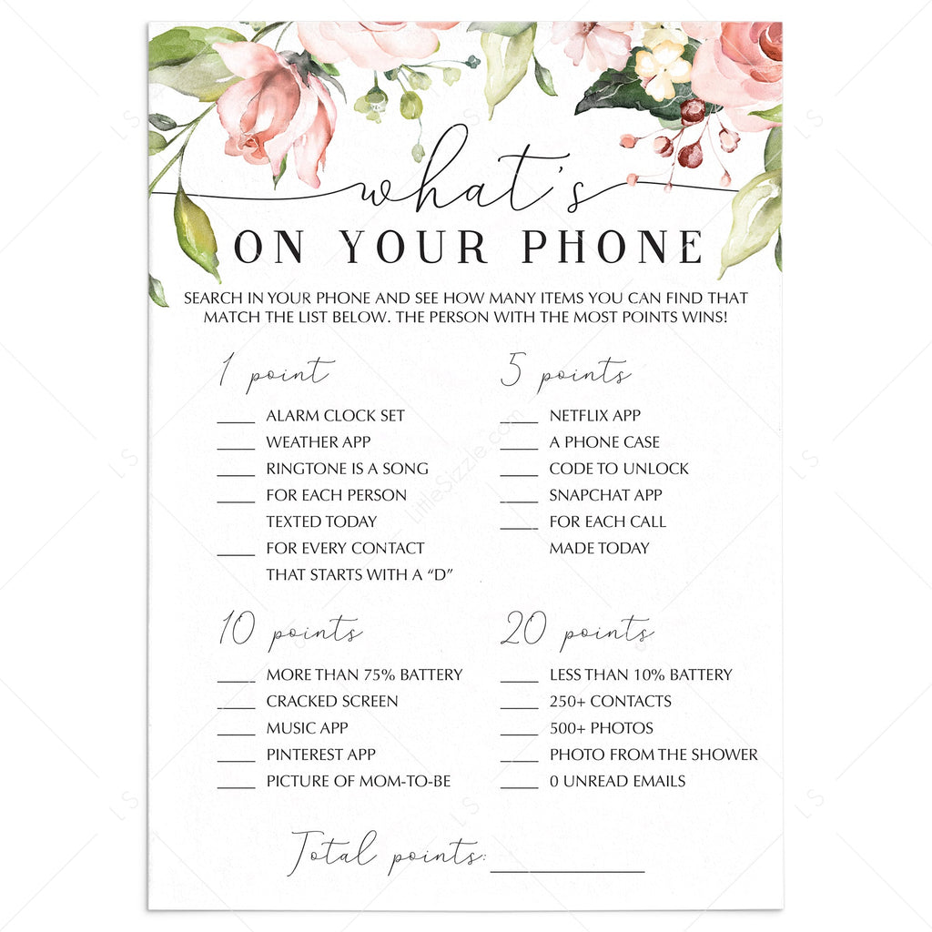 Floral baby shower games what's on your phone printable by LittleSizzle
