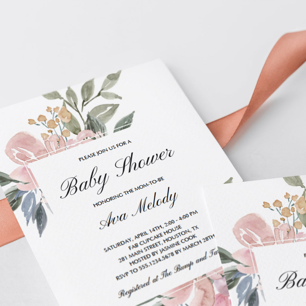 Whimsical floral baby shower invites by LittleSizzle