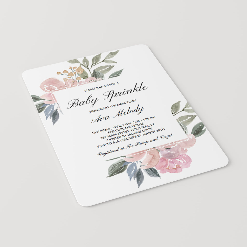 Pink Floral Baby Sprinkle Invitation Template