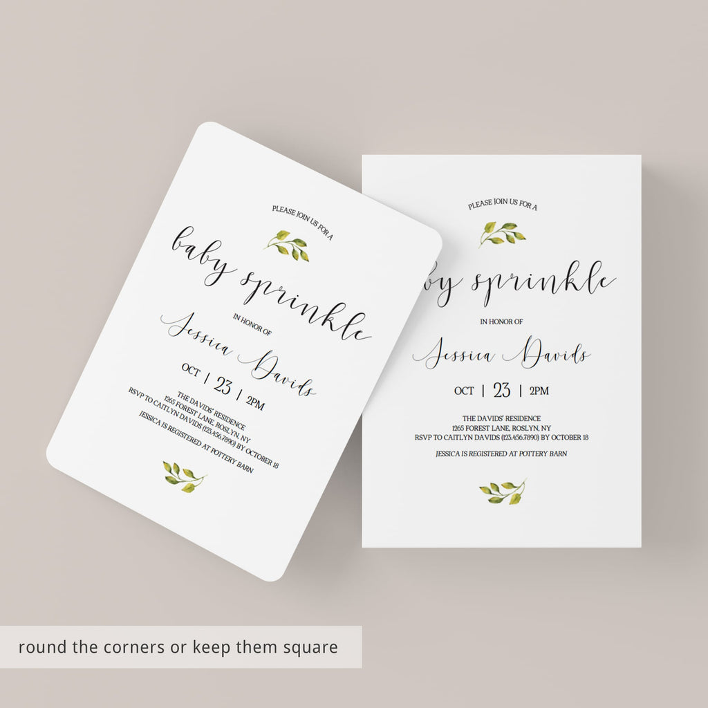 Minimal Baby Sprinkle Invitation Set Templates