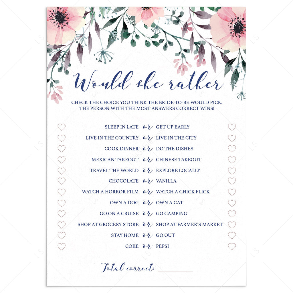 Blush Bridal Shower Games Would She Rather Printable by LittleSizzle