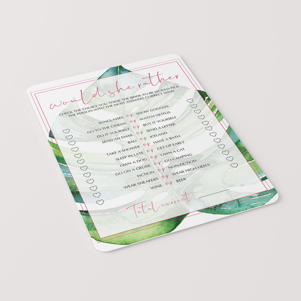 green and pink wedding shower games instant download