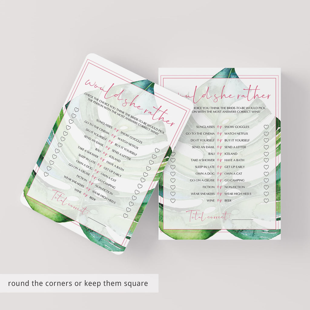 tropical leaf bridal shower would she rather game printable