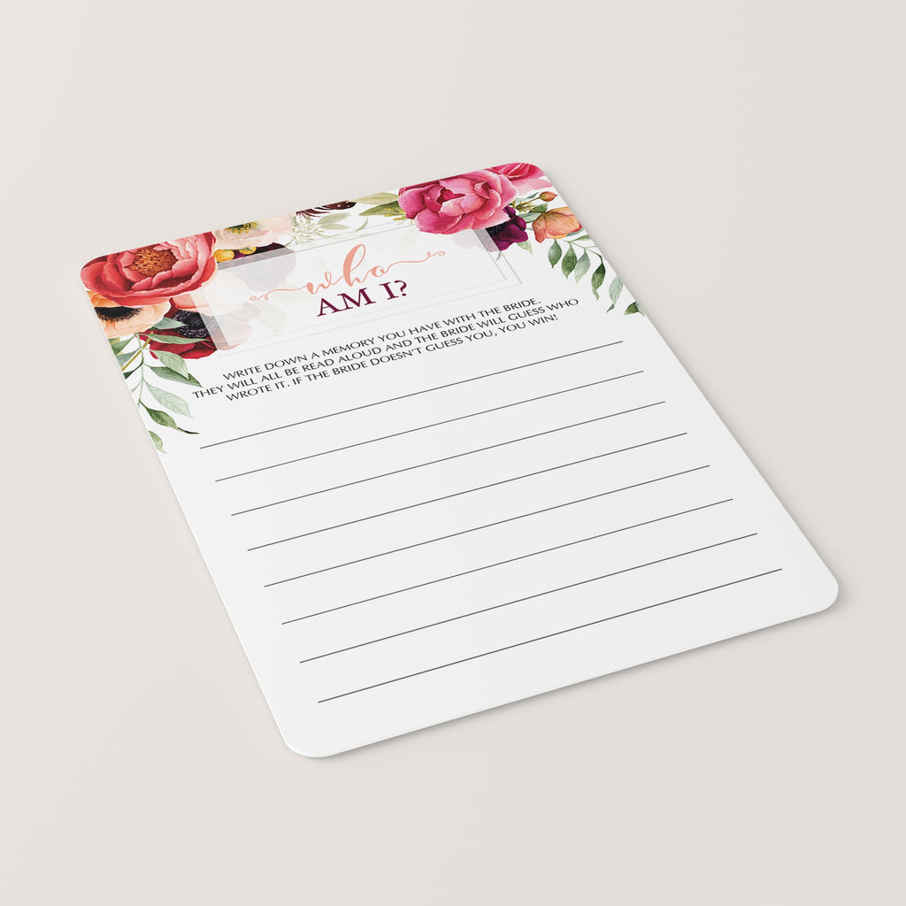 Red flowers bridal shower game template by LittleSizzle