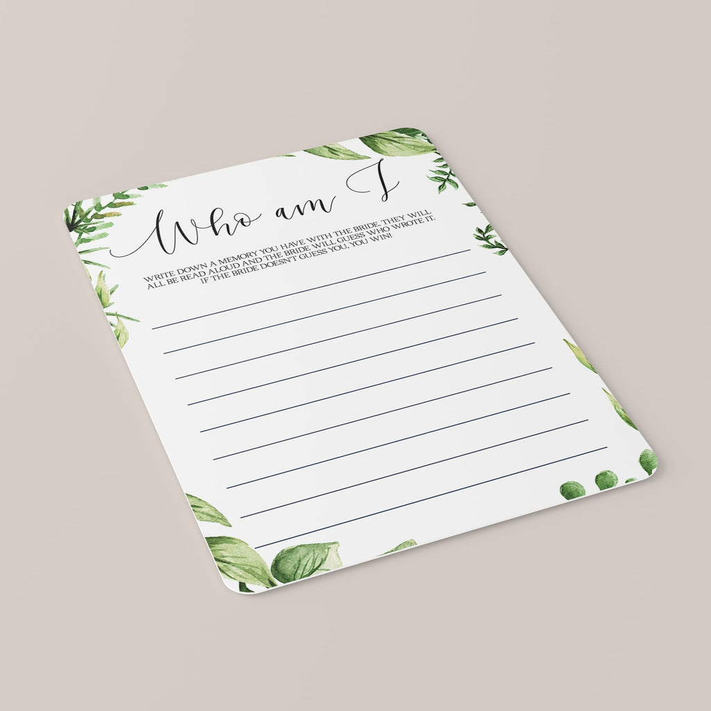 Green Leaf Bridal Shower Who Am I Game Cards Download