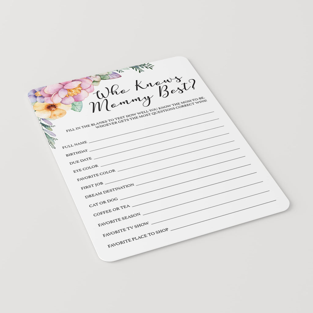 Printable Floral Girl Shower Game Who Knows Mom Best