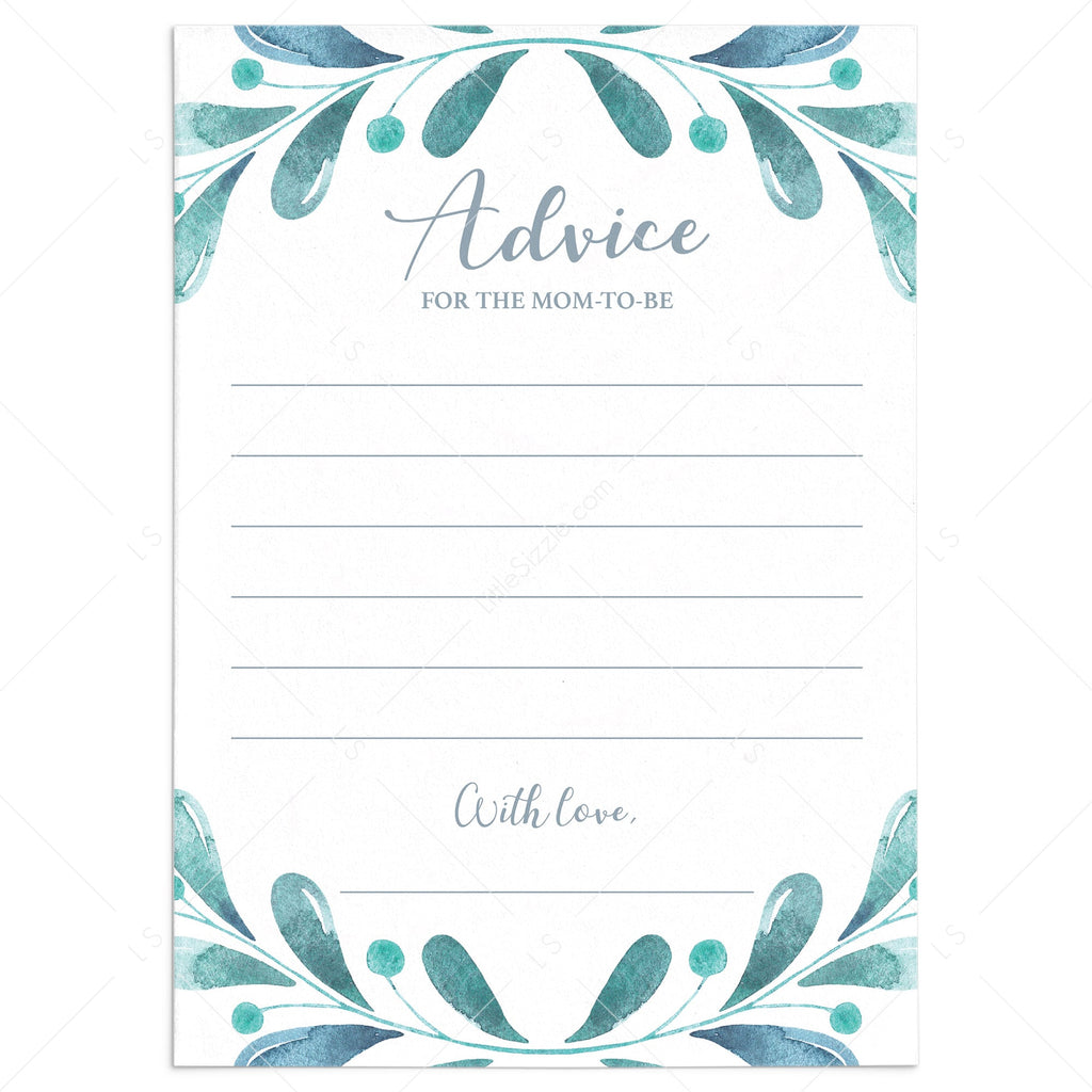 Advice card for new moms printable winter theme baby shower by LittleSizzle