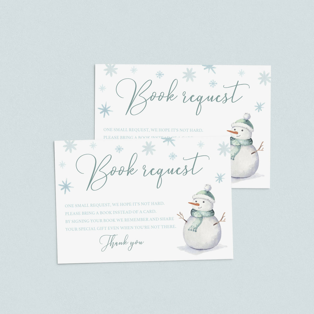 Snow baby shower bring a book for baby cards instant download by LittleSizzle