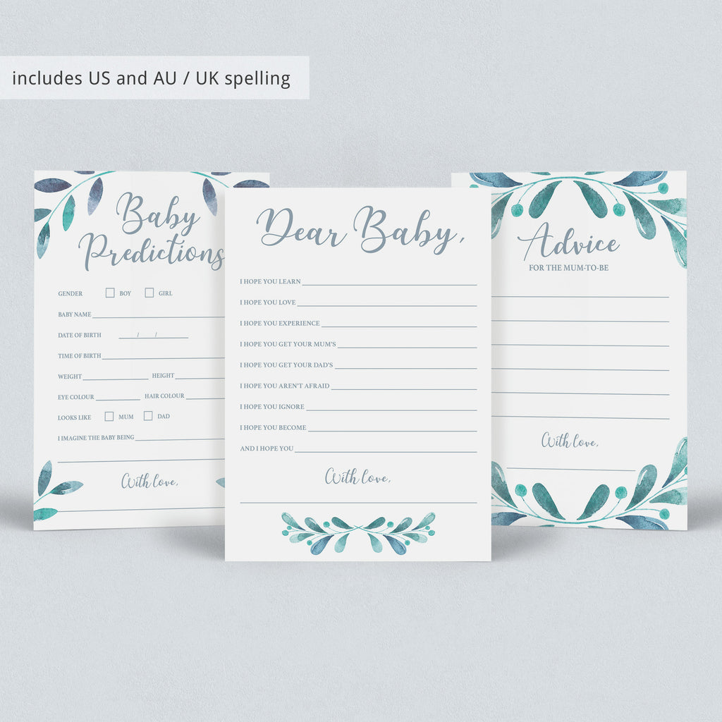 Huge Baby Shower Games Package with Watercolor Leaves