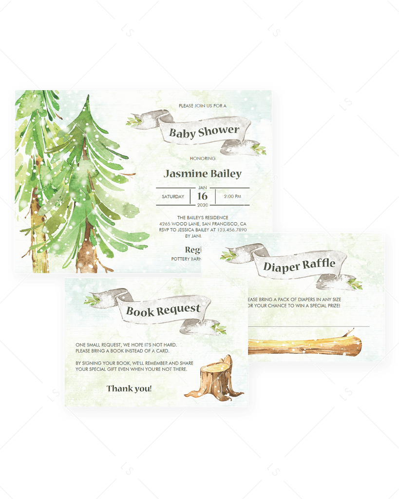 Winter woodland baby shower invite kit templates by LittleSizzle