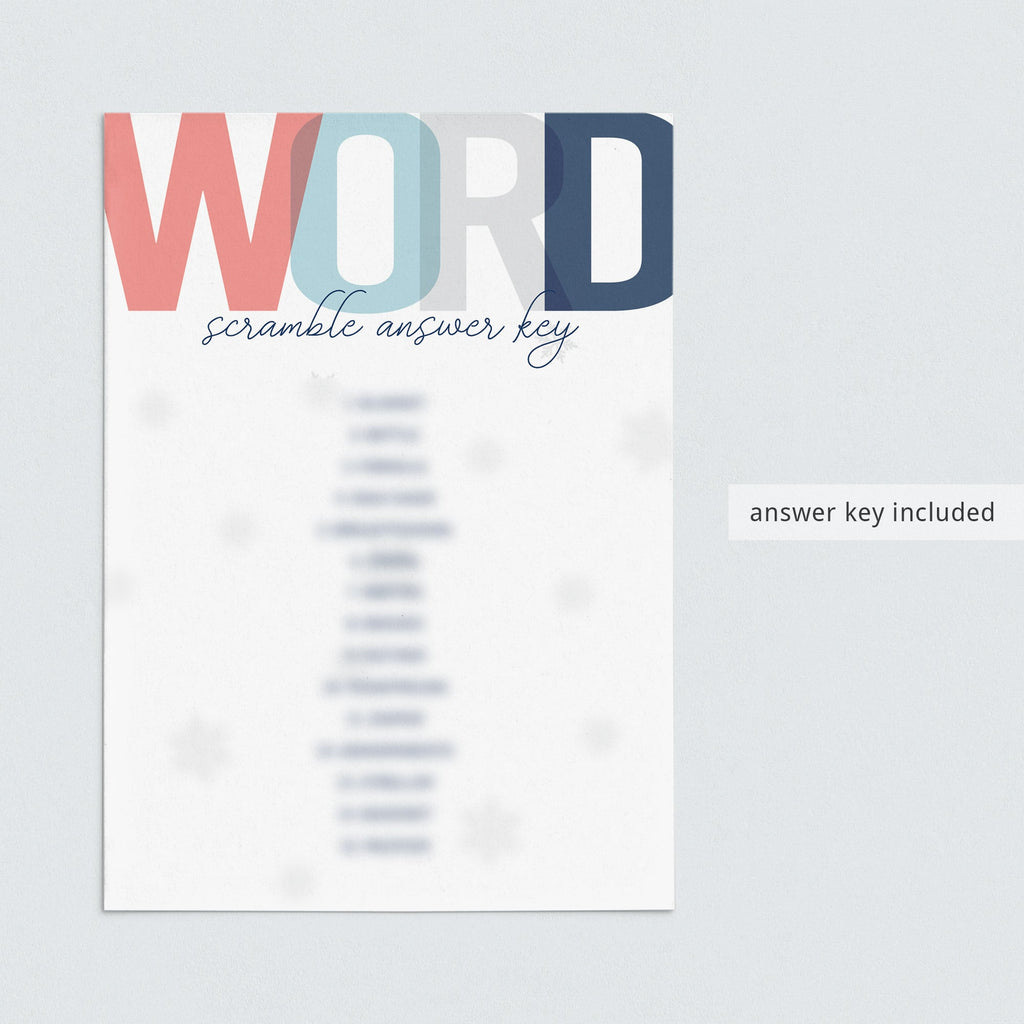 Scrambled words answer key for baby shower by LittleSizzle