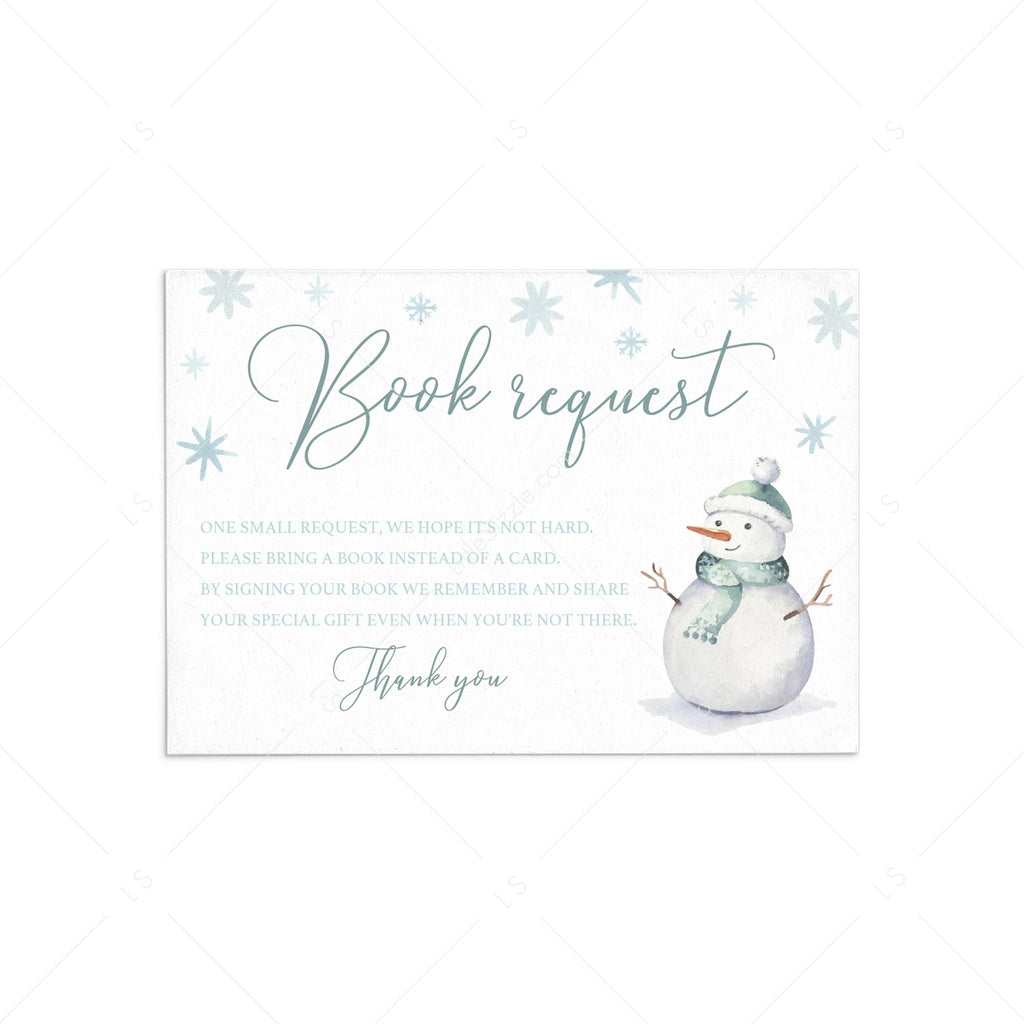Book request card template for winter baby shower by LittleSizzle