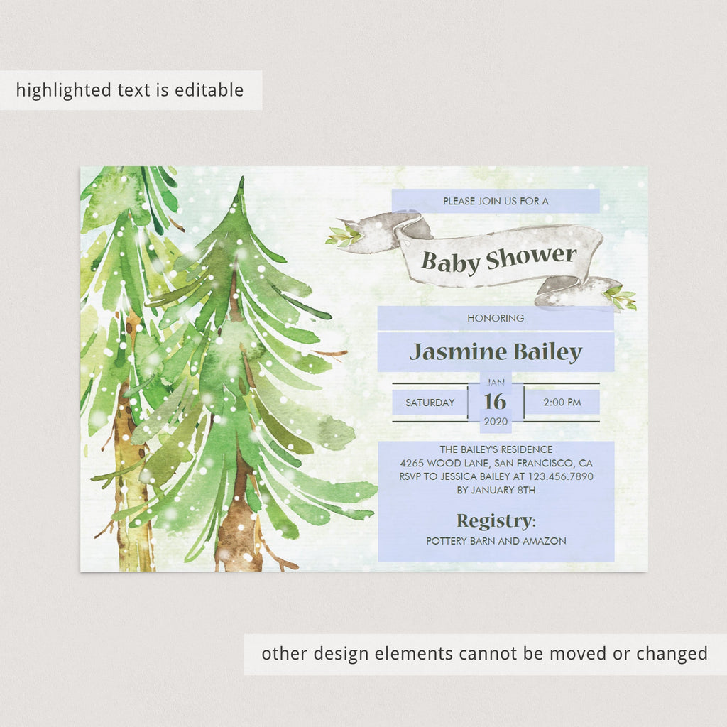 Green forest baby shower invitation templates by LittleSizzle