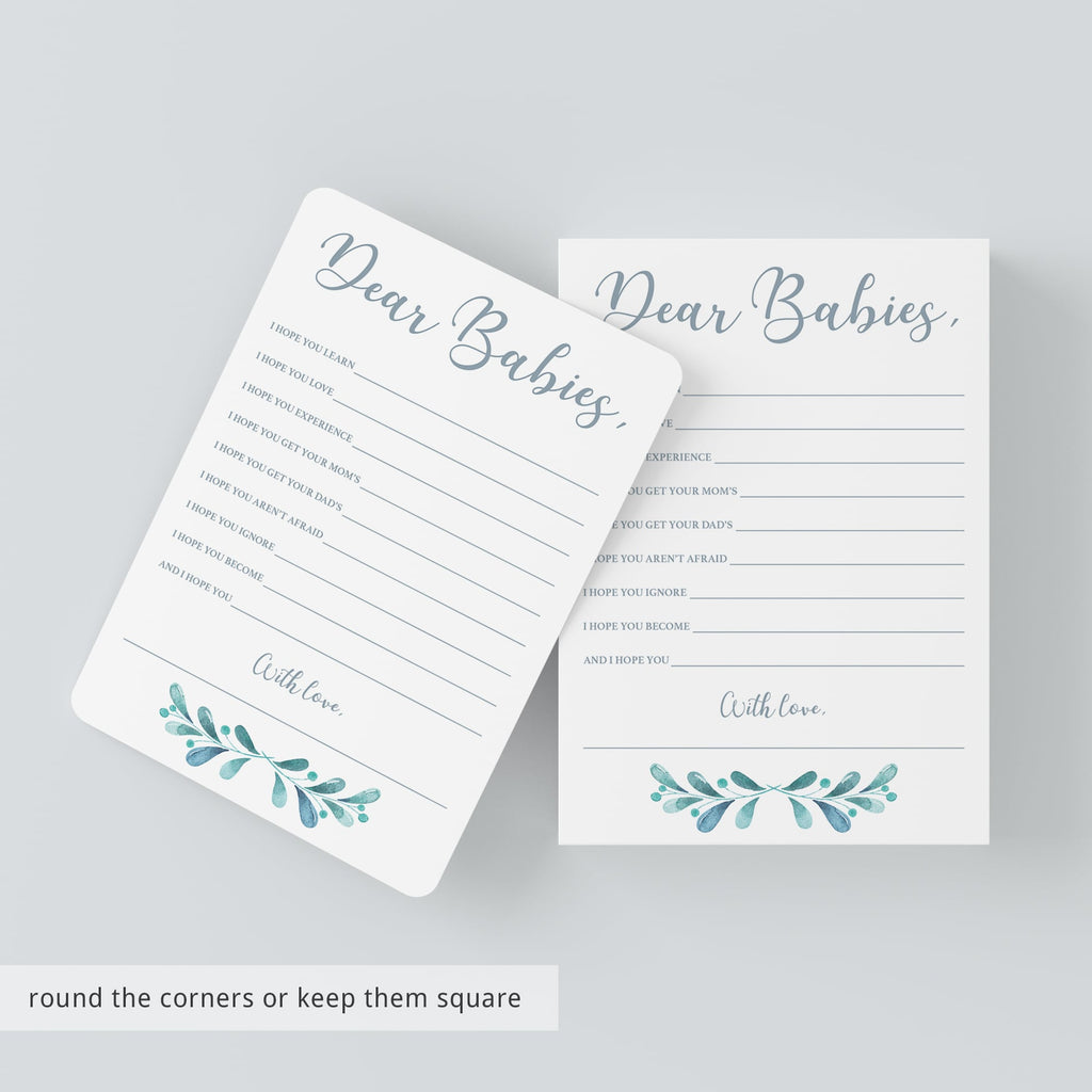 Twins Baby Shower Games Printable Dear Babies Card
