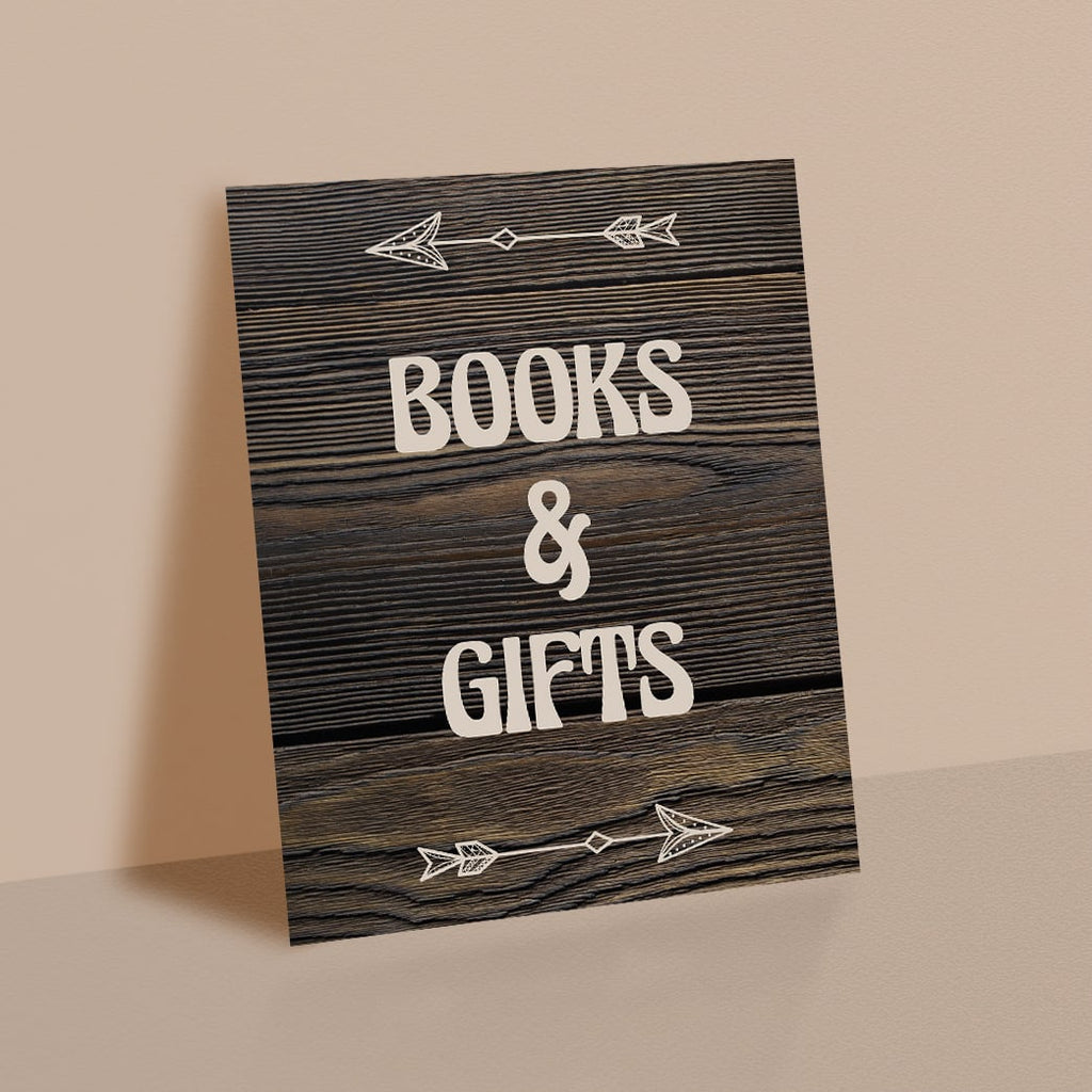Books and gifts table sign for rustic baby shower printable instant download by LittleSizzle
