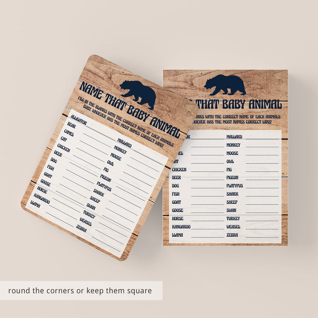 Ructic baby shower game backer wood print by LittleSizzle