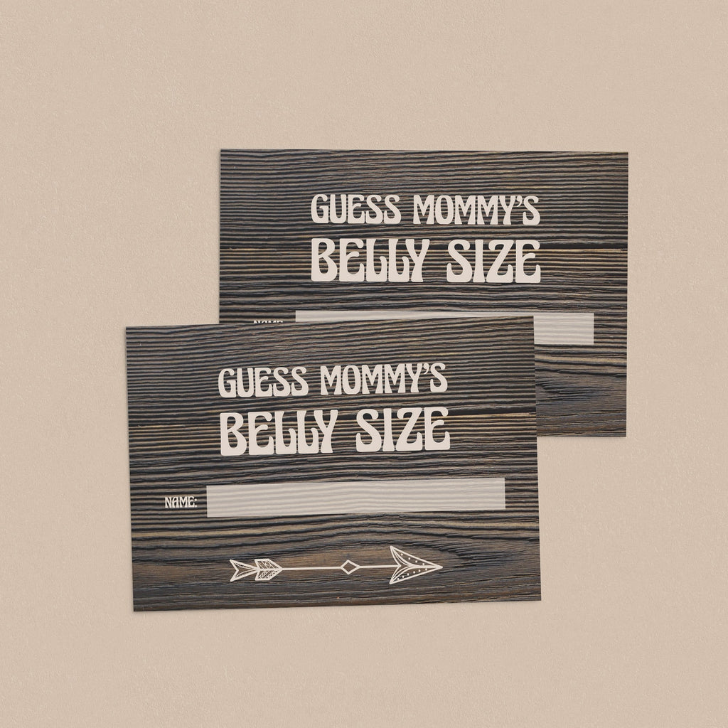 Rustic wood baby shower guessing game cards printable by LittleSizzle