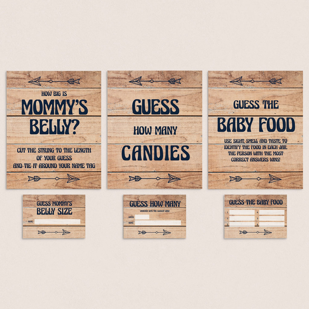 Rustic baby shower guessing games package printable by LittleSizzle