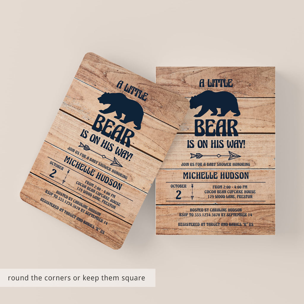 Adventures Bear Invitation Template for Boy Baby Shower