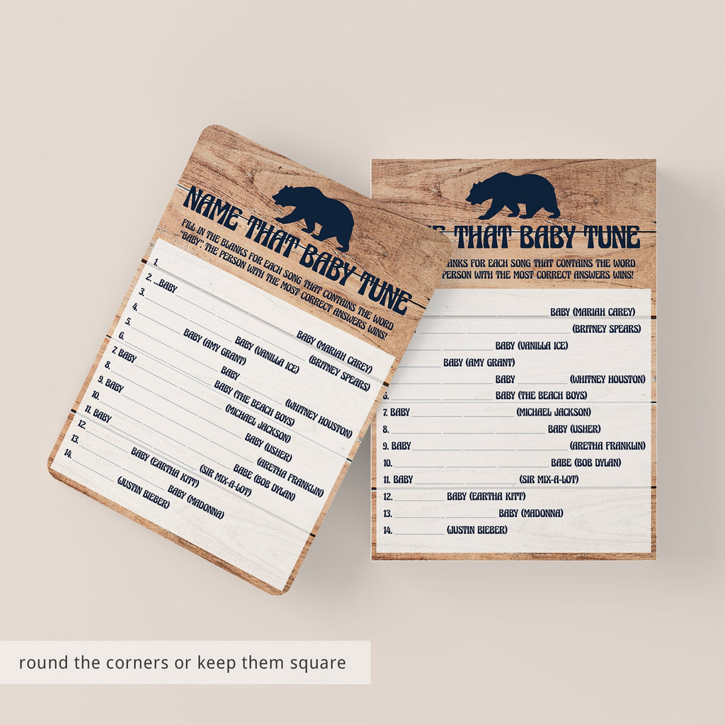 Rustic baby party games printable by LittleSizzle