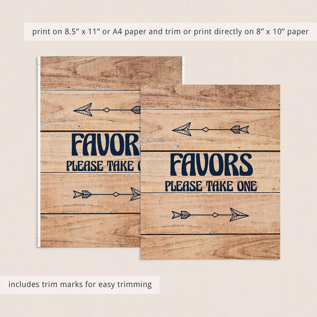 Forest Themed Printable Favors Sign