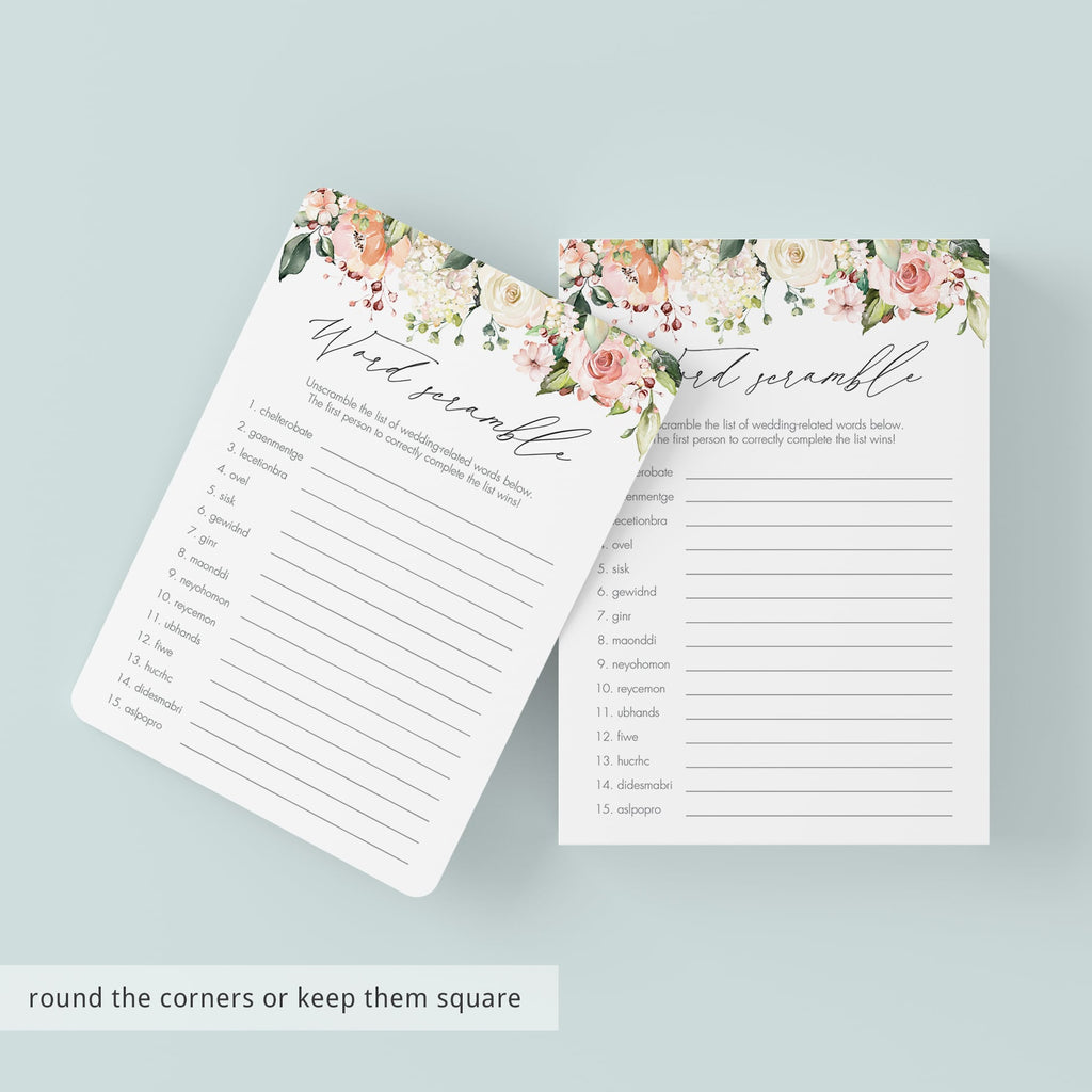 Rosy Floral Word Scramble Bridal Shower Game Printable