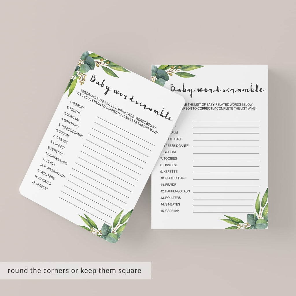DIY baby shower game template greenery theme by LittleSizzle