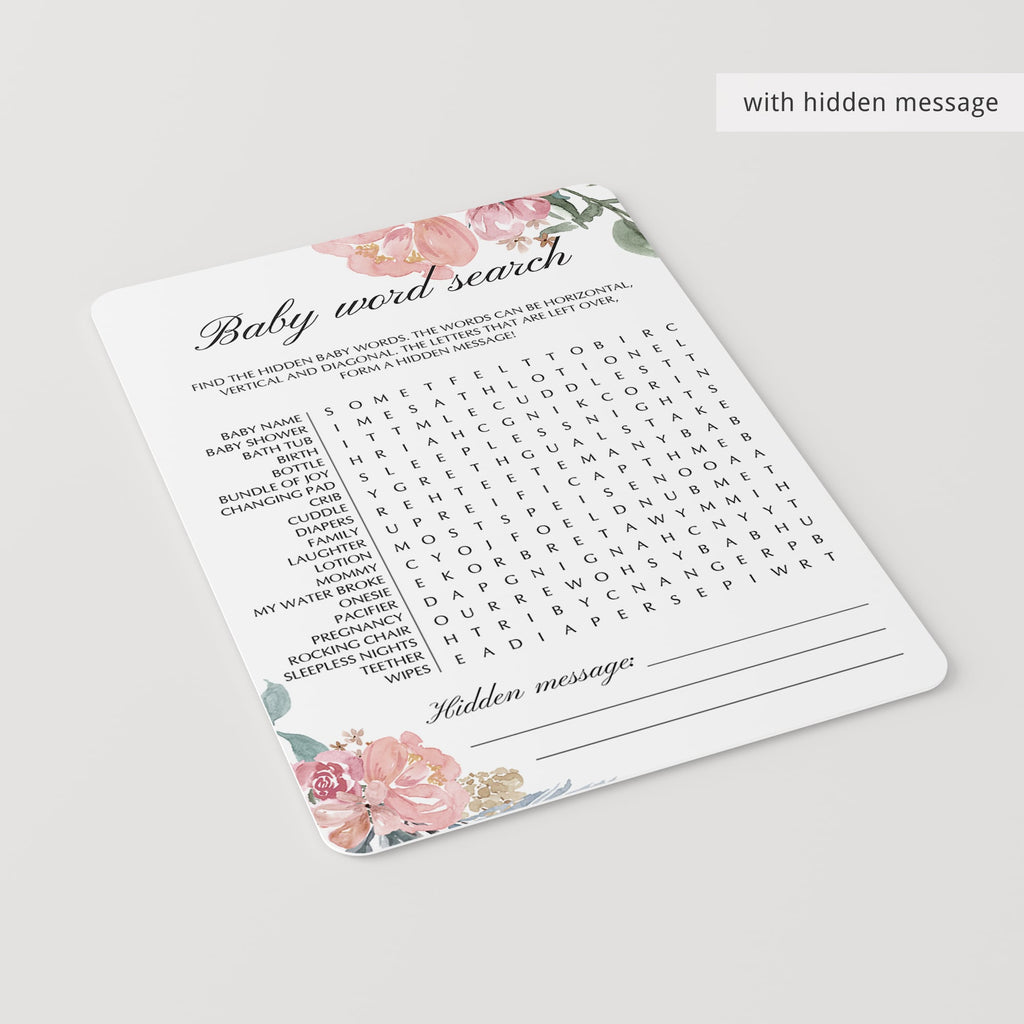 Pink Floral Baby Shower Word Search Game Printable