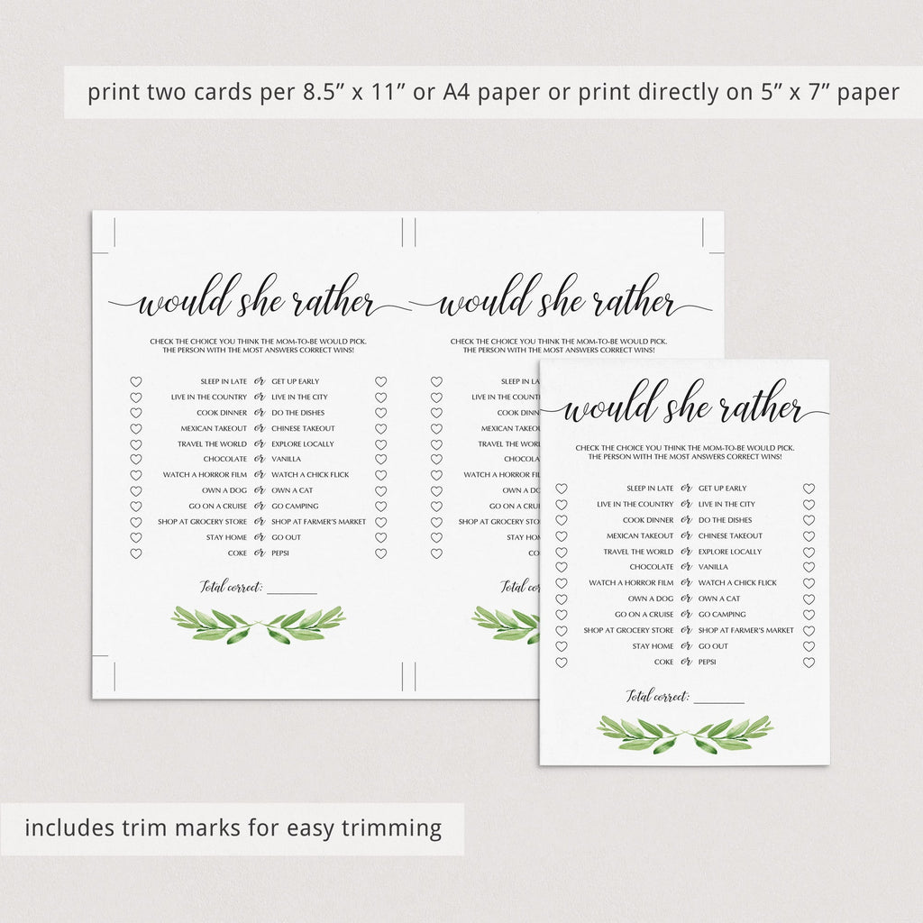Green leaf mommy or daddy baby shower quiz printable by LittleSizzle